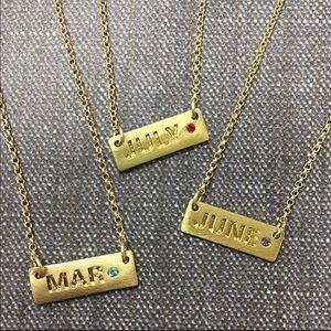 Jewelry - Month & Birthstone Bar Necklace, NWT